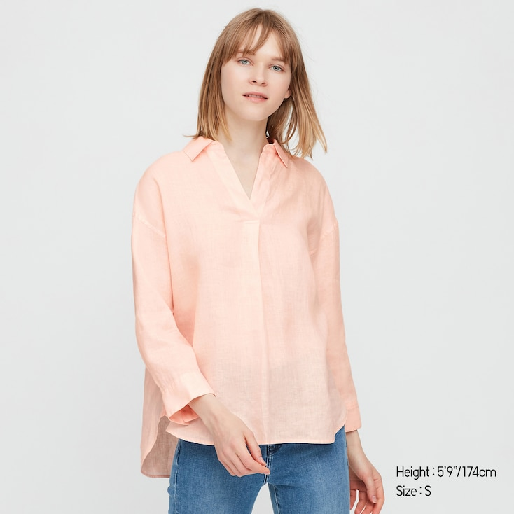 Women Premium Linen Skipper Collar 3/4 Sleeve Shirt, Light Orange, Large