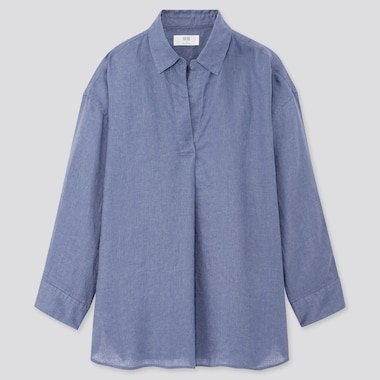 Women Premium Linen Skipper Collar 3/4 Sleeve Shirt, Blue, Medium