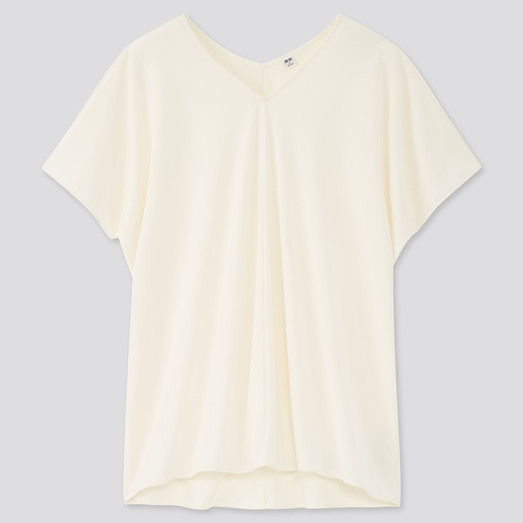 Women Crepe Jersey Short-Sleeve Tunic, Off White, Large
