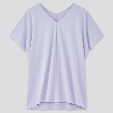 Women Crepe Jersey Short-Sleeve Tunic, Light Purple, Medium