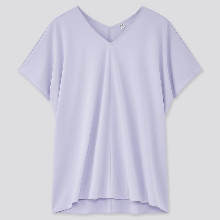 Women Crepe Jersey Short-Sleeve Tunic, Light Purple, Large