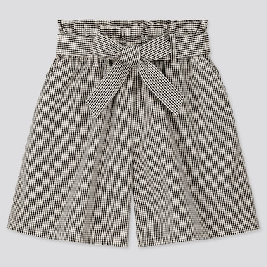 Girls Gingham Checked Belted Culottes, Black, Medium