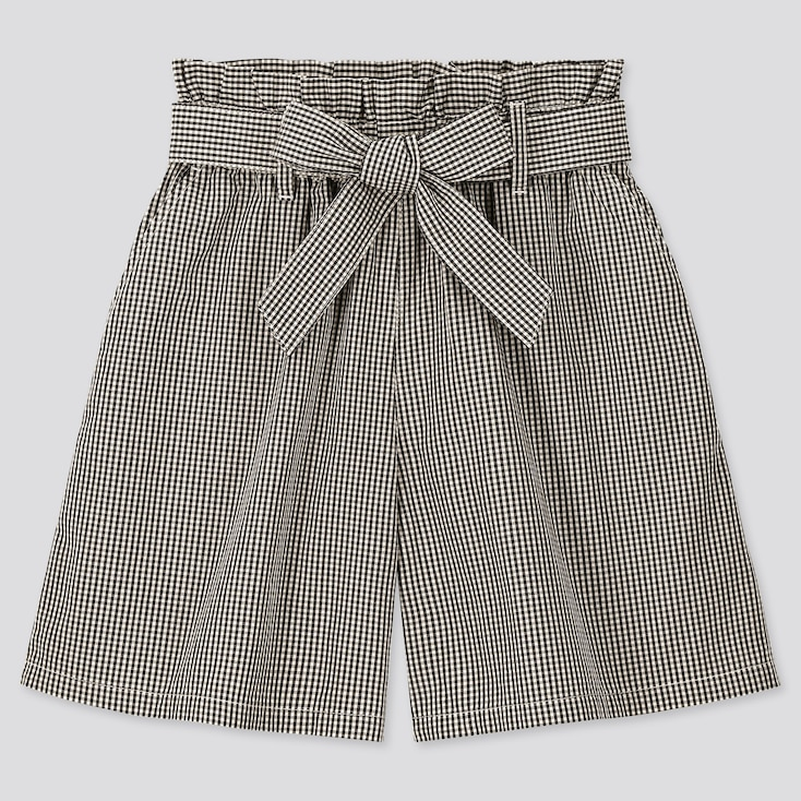 Girls Gingham Checked Belted Culottes, Black, Large