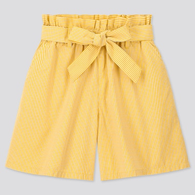 Girls Gingham Checked Belted Culottes, Yellow, Medium