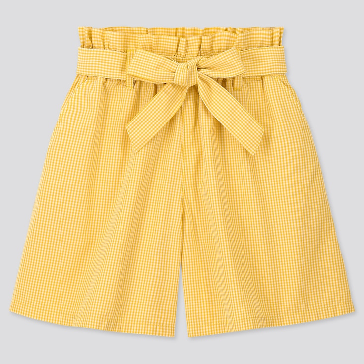Girls Gingham Checked Belted Culottes, Yellow, Large