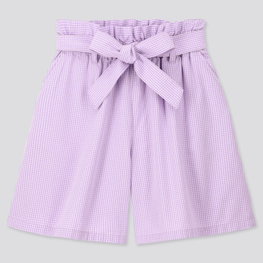 Girls Gingham Checked Belted Culottes, Purple, Medium