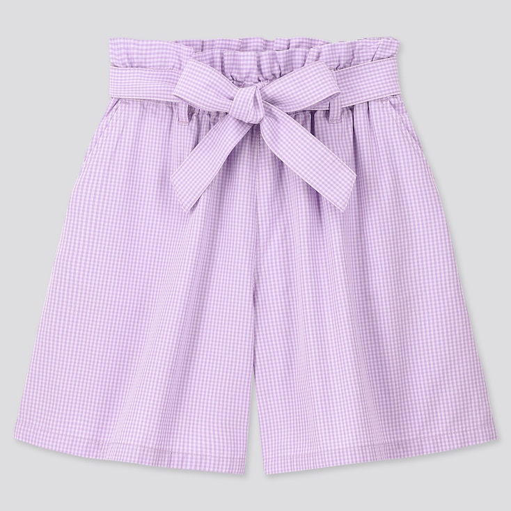 Girls Gingham Checked Belted Culottes, Purple, Large