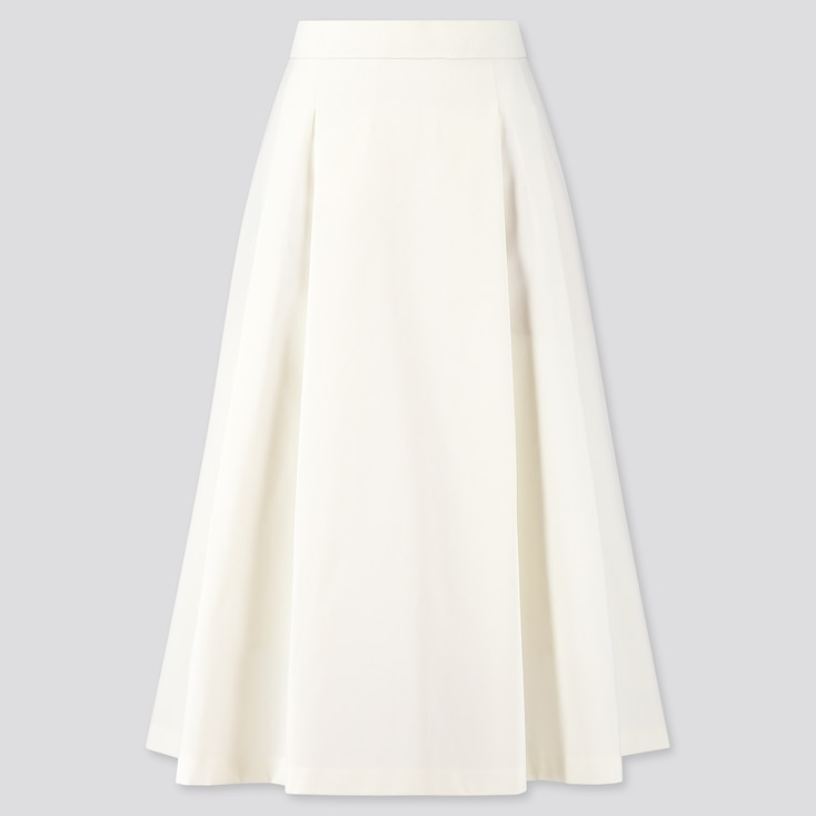 Women Dry Stretch High-Waisted Flare Skirt, Off White, Large