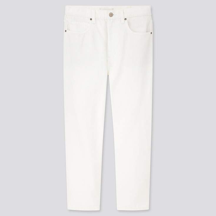 Women Slouch Tapered Ankle Jeans, Off White, Large