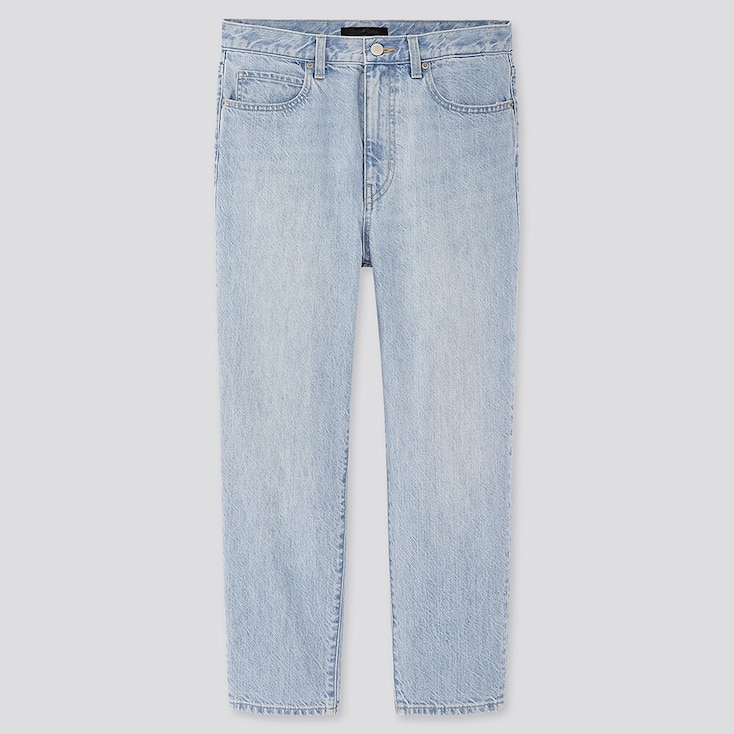 Women Slouch Tapered Ankle Jeans, Blue, Large