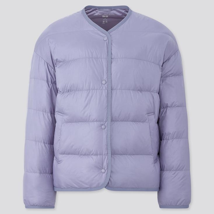Women Ultra Light Down Oversize Jacket, Blue, Large