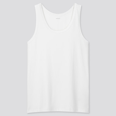 Men Airism Cotton Tank Top, White, Medium