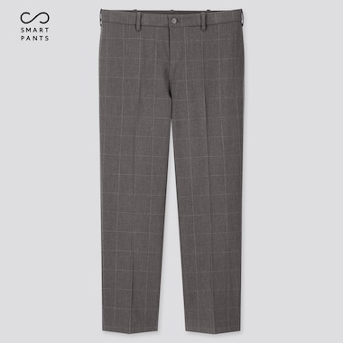 Men Ezy 2-Way Stretch Windowpane Ankle-Length Pants, Dark Gray, Medium