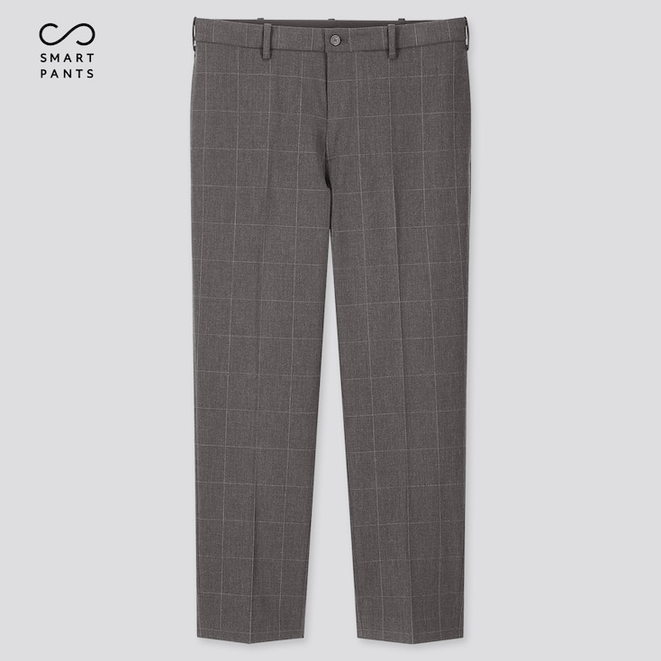 Men Smart 2-Way Stretch Windowpane Ankle-Length Pants, Dark Gray, Large