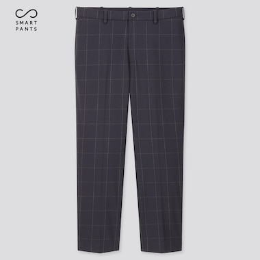 Men Smart 2-Way Stretch Windowpane Ankle-Length Pants, Blue, Medium