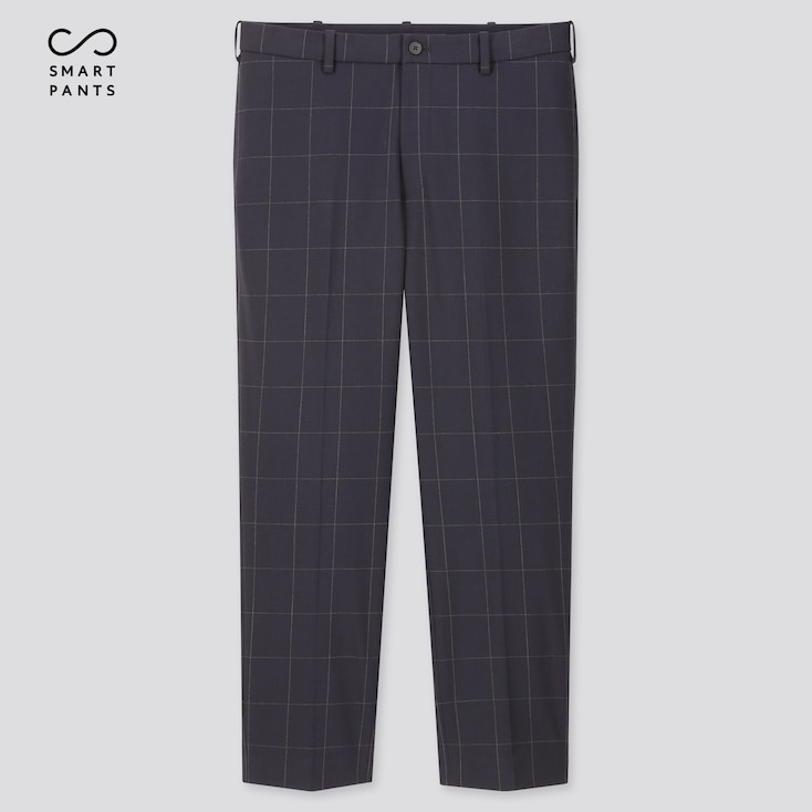 Men Ezy 2-Way Stretch Windowpane Ankle-Length Pants, Blue, Large
