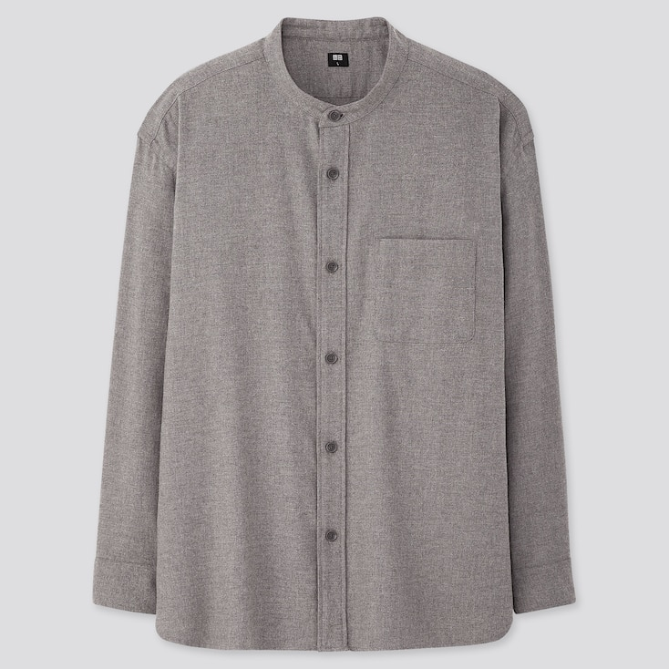 MEN OVERSIZED FLANNEL STAND COLLAR LONG-SLEEVE SHIRT, GRAY, large