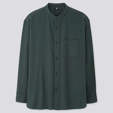 MEN OVERSIZED FLANNEL STAND COLLAR LONG-SLEEVE SHIRT, DARK GREEN, medium