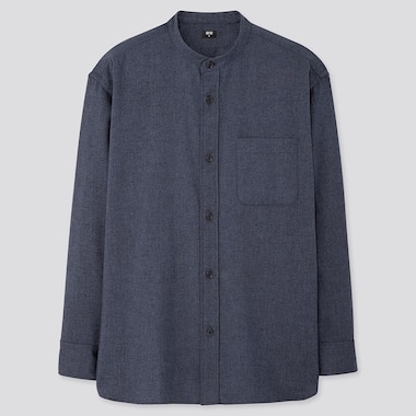 MEN FLANNEL OVERSIZED FIT SHIRT (GRANDAD COLLAR)
