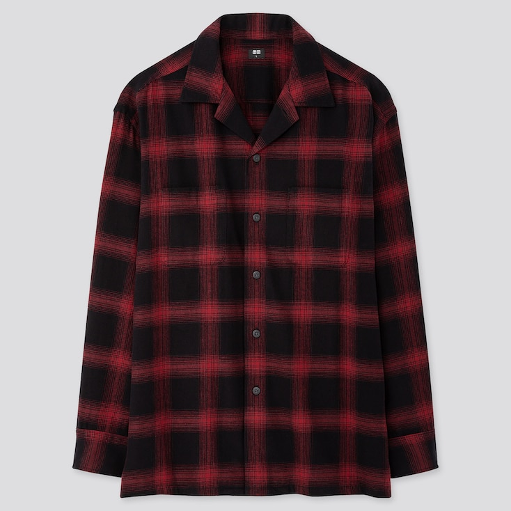 Men Oversized Flannel Open Collar Long-sleeve Shirt, Red, Large