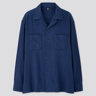 MEN OVERSIZED FLANNEL OPEN COLLAR LONG-SLEEVE SHIRT, BLUE, medium