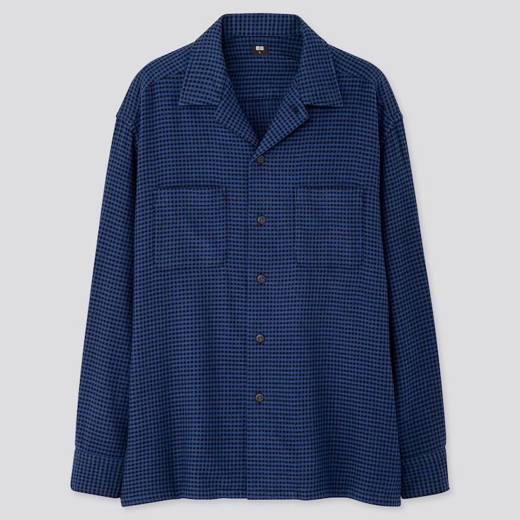 Men Oversized Flannel Open Collar Long-Sleeve Shirt, Blue, Large