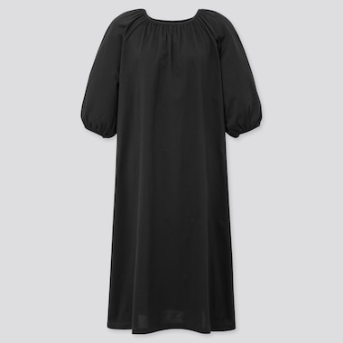 Women Mercerized Cotton Gathered 3/4 Slv Dress (Online Exclusive), Black, Medium