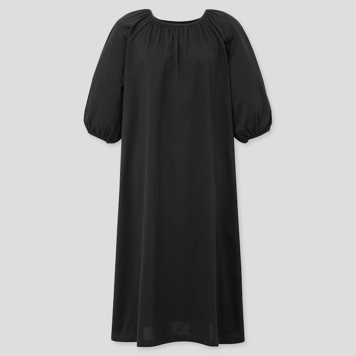Women Mercerized Cotton Gathered 3/4 Slv Dress (Online Exclusive), Black, Large