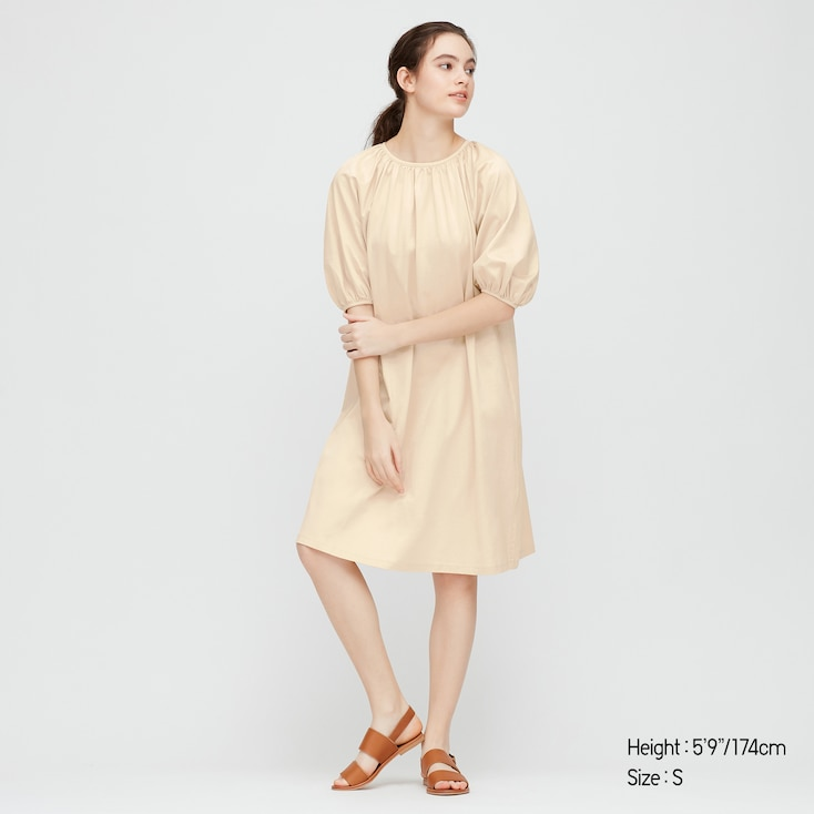Women Mercerized Cotton Gathered 3/4 Slv Dress (Online Exclusive), Natural, Large