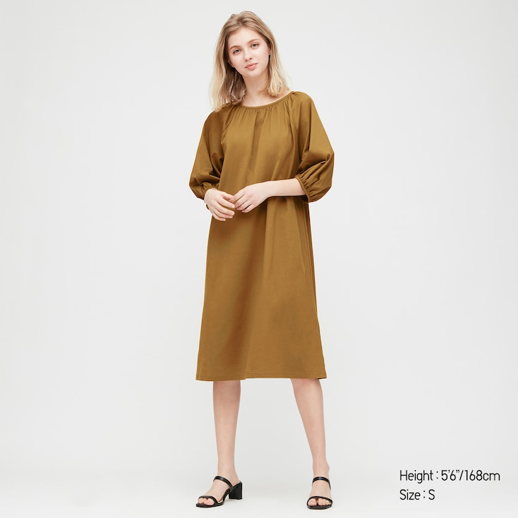 Women Mercerized Cotton Gathered 3/4 Slv Dress (Online Exclusive), Brown, Large