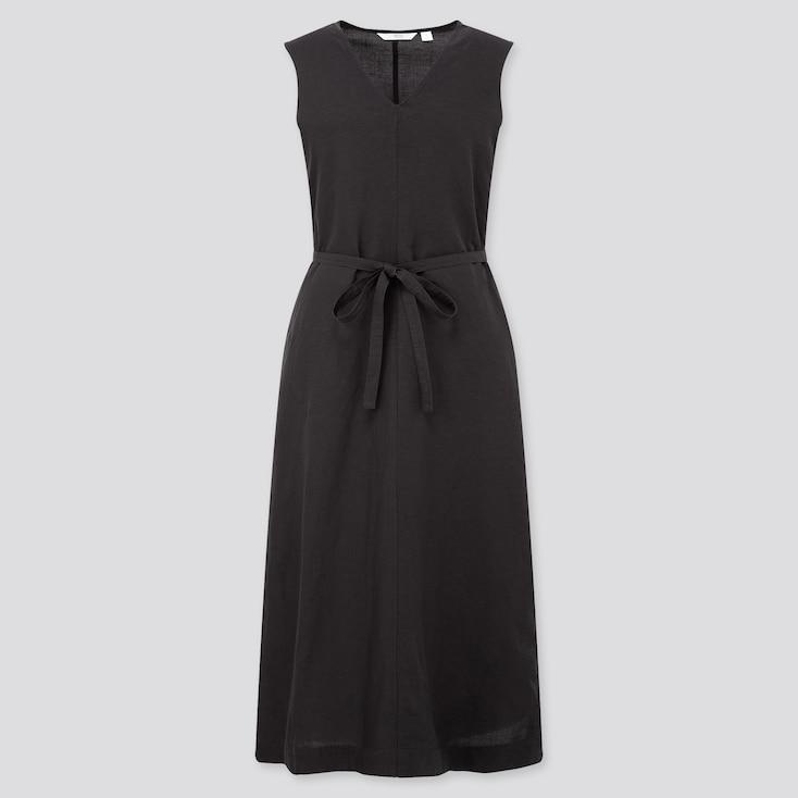 Women Linen Blended A-Line Sleeveless Dress, Black, Large