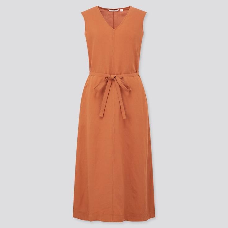 Women Linen Blended A-Line Sleeveless Dress, Orange, Large