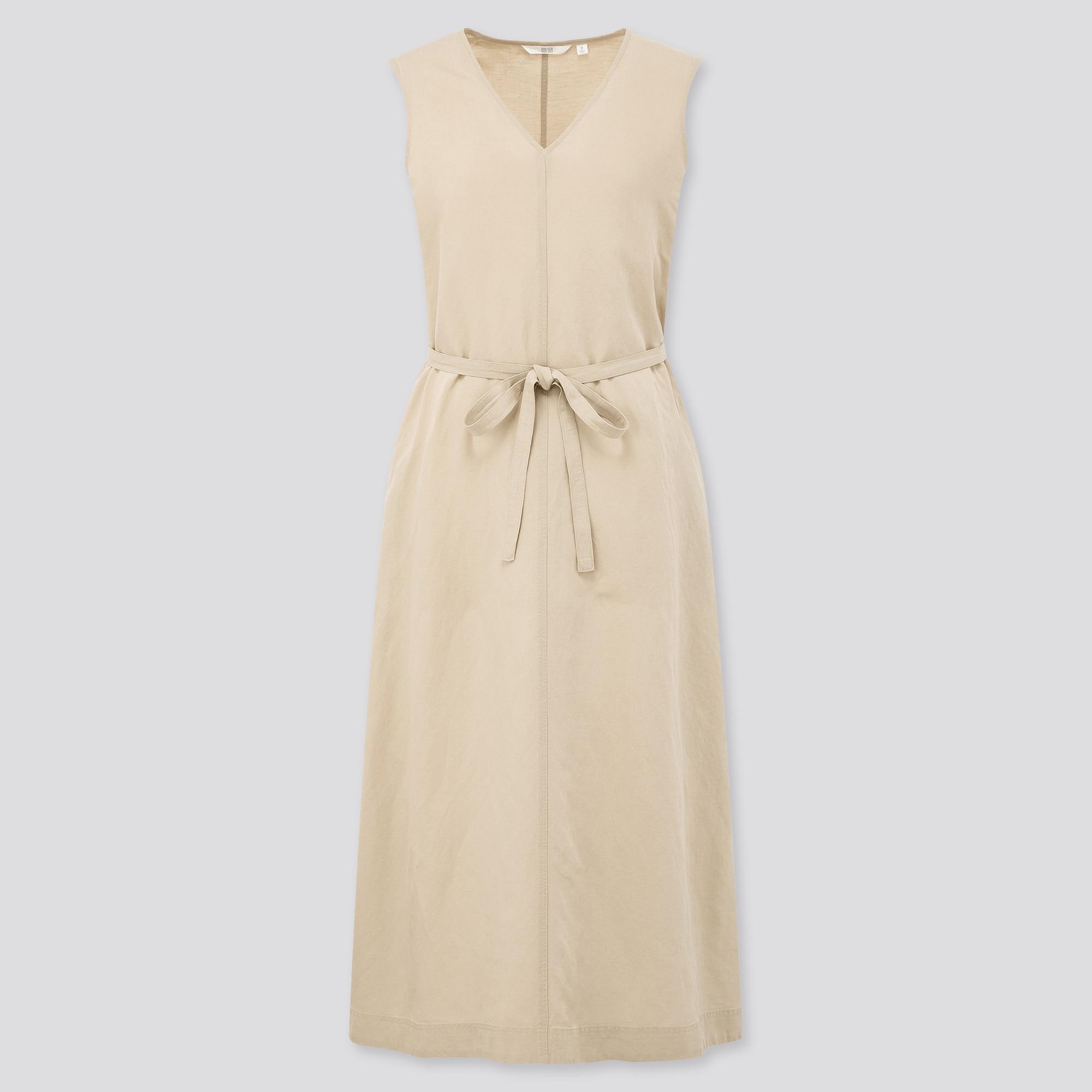 women linen blended a-line sleeveless dress