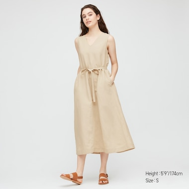 Women Linen Blend A-Line Sleeveless Dress