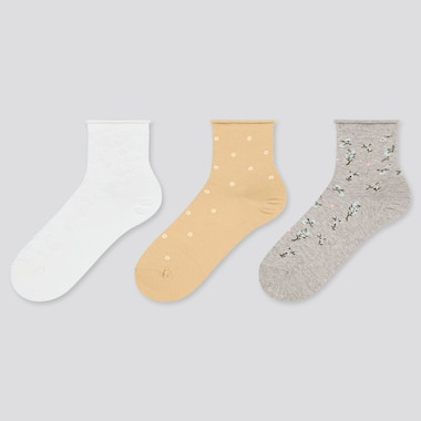 Women Crew Motif Socks (3 Pairs), Off White, Medium