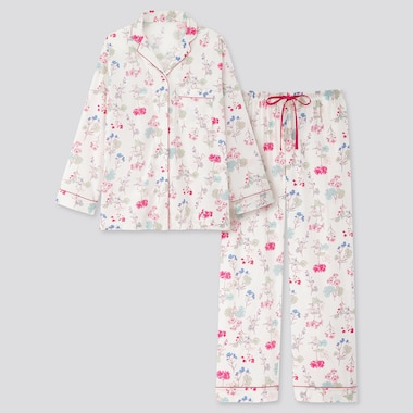 Women Joy Of Print Long-Sleeve Pajamas, Off White, Medium