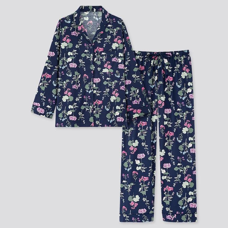 Women Joy Of Print Long-Sleeve Pajamas, Navy, Large