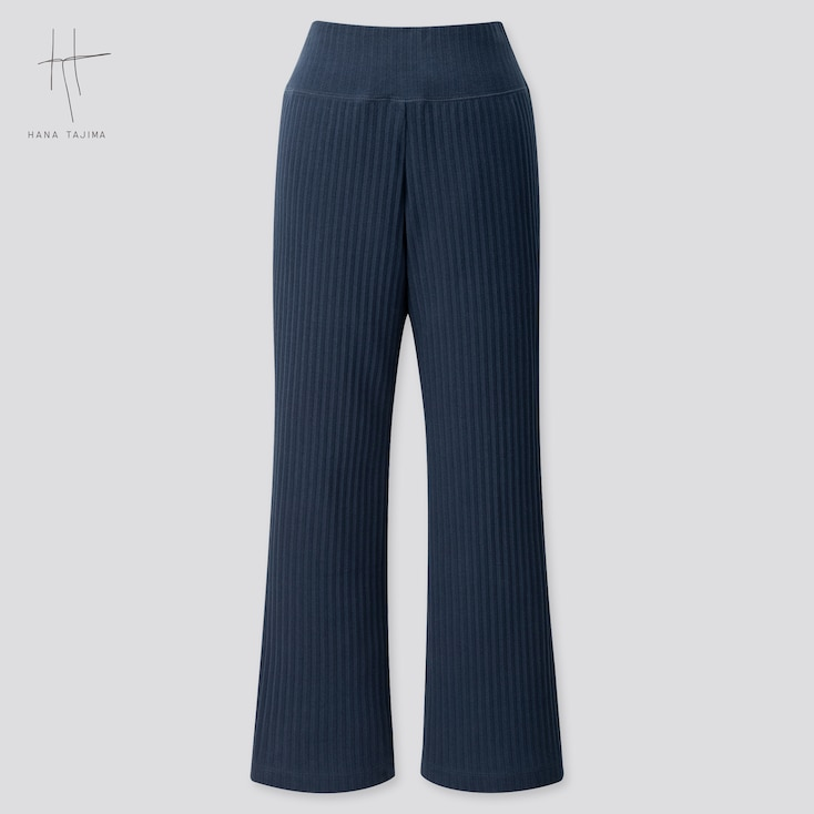 Women Pleated Wide Ankle-Length Pants (Hana Tajima) (Online Exclusive), Navy, Large