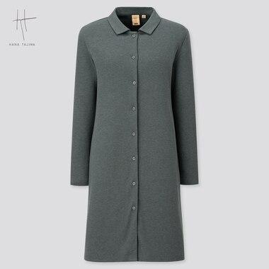 Women Rayon Ribbed Long-Sleeve Long Cardigan (Hana Tajima) (Online Exclusive), Green, Medium