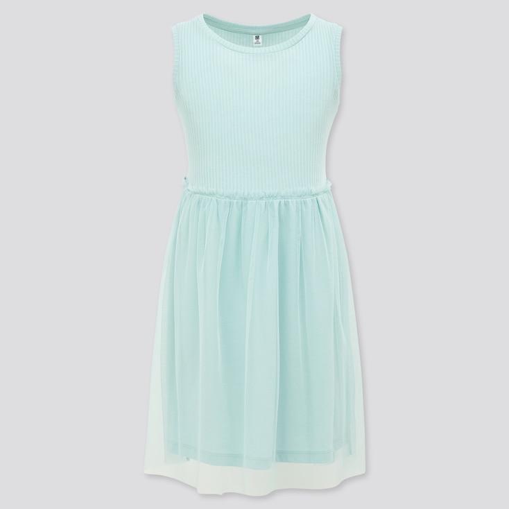 Girls Tulle Sleeveless Dress, Light Blue, Large