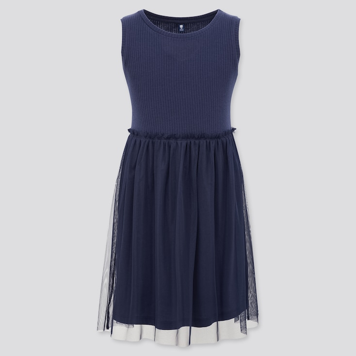 Girls Tulle Sleeveless Dress, Navy, Large