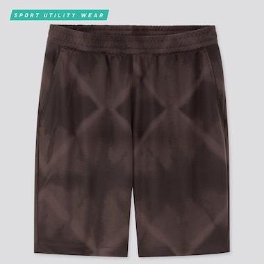 Men Dry-Ex Printed Shorts, Dark Brown, Medium