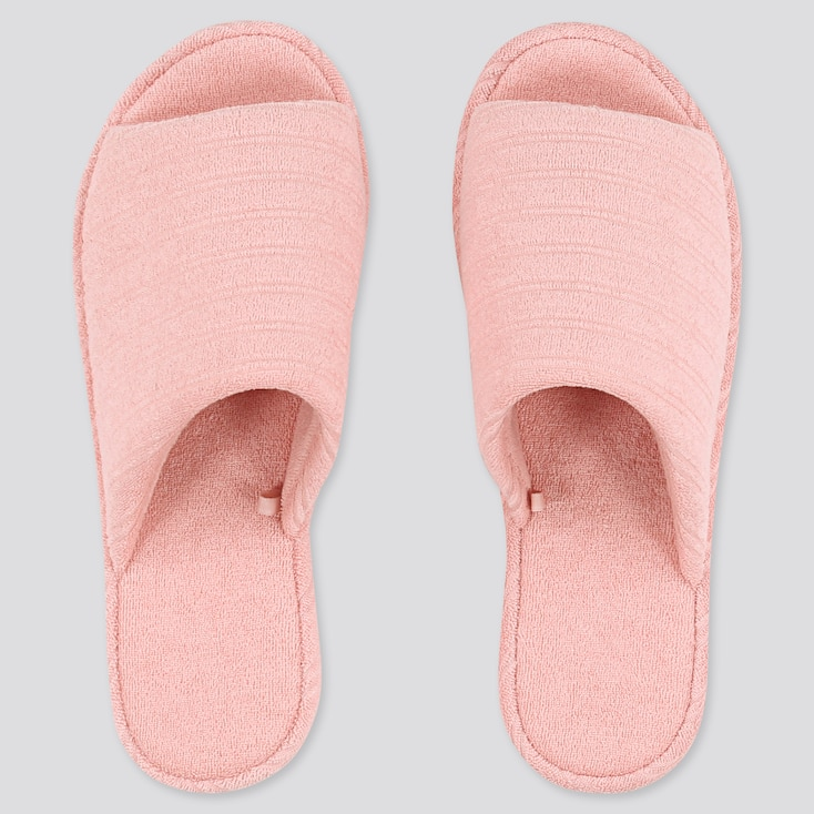 Pile Striped Slippers, Pink, Large