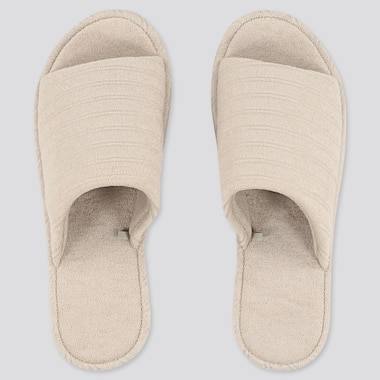 Pile Striped Slippers, Natural, Medium