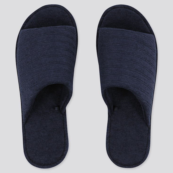 Pile Striped Slippers, Navy, Large