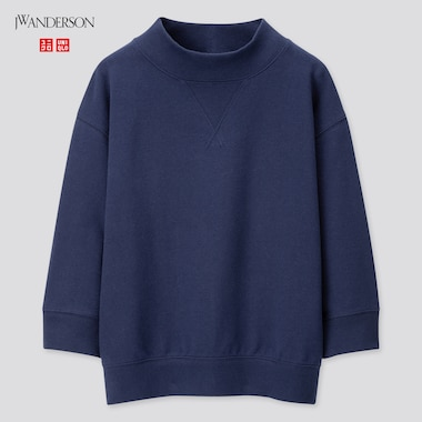 Women High-Neck 3/4 Sleeve Sweatshirt (Jw Anderson), Navy, Medium