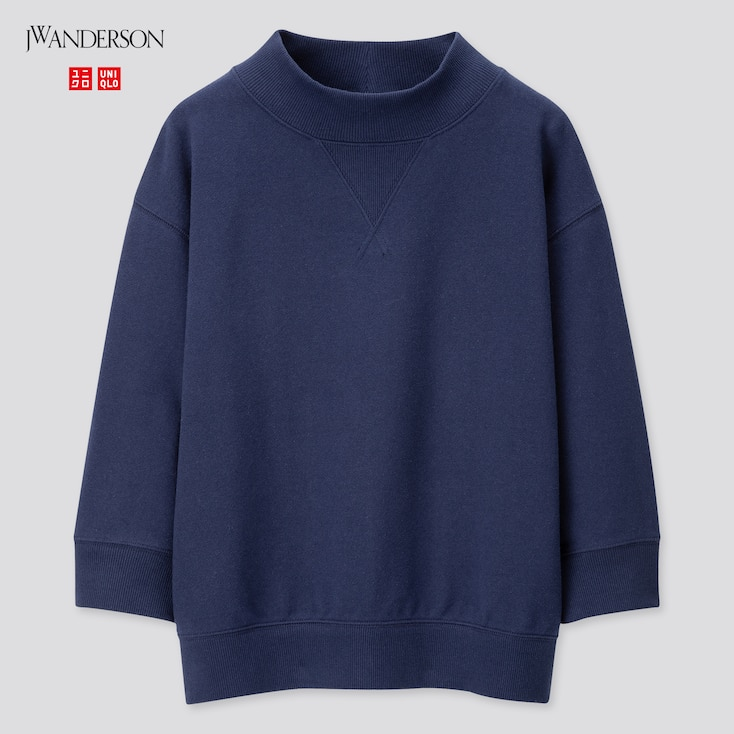 Women High-Neck 3/4 Sleeve Sweatshirt (Jw Anderson), Navy, Large