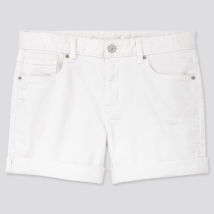 Women Mid Rise Denim Shorts, White, Large