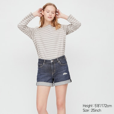 Women Mid Rise Denim Shorts