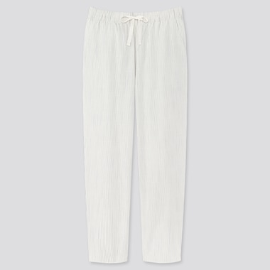 Women Cotton Relax Ankle-Length Pants, Off White, Medium